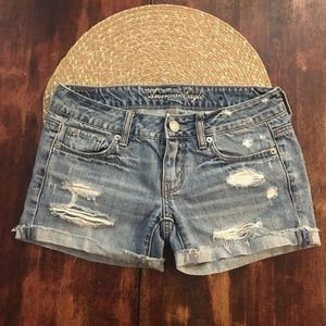 Cuffed Cutoff American Eagle distress jean shorts